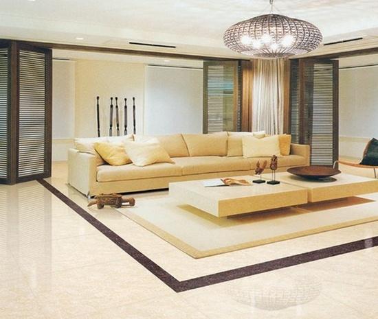 客厅地板砖效果图:暖色调搭配家居