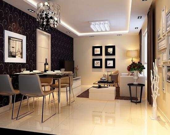 客厅地板砖效果图:黑与白简约搭配的时尚